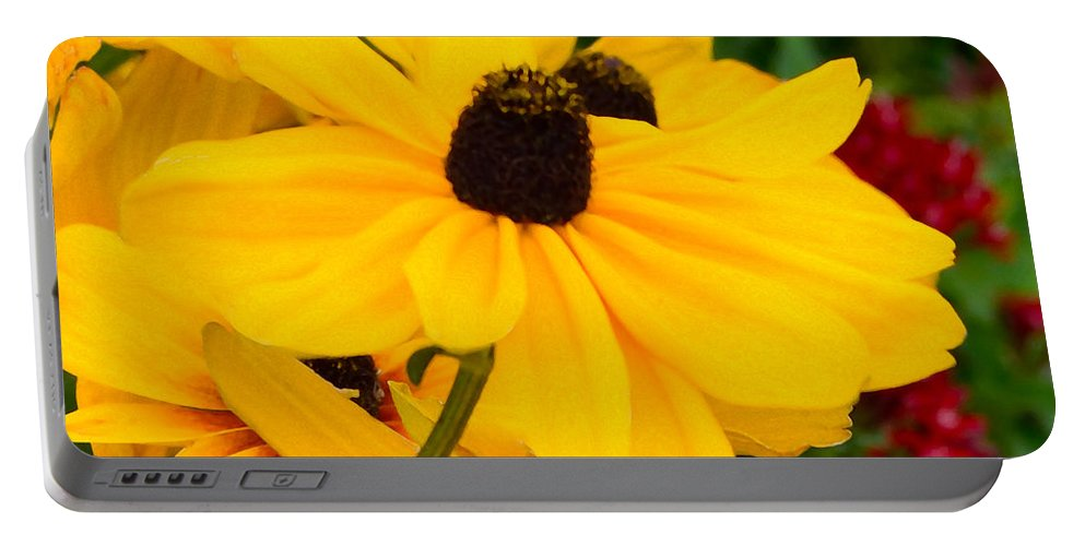 Floral Portable Battery Charger featuring the digital art Black-eyed Susan Floral by Mas Art Studio
