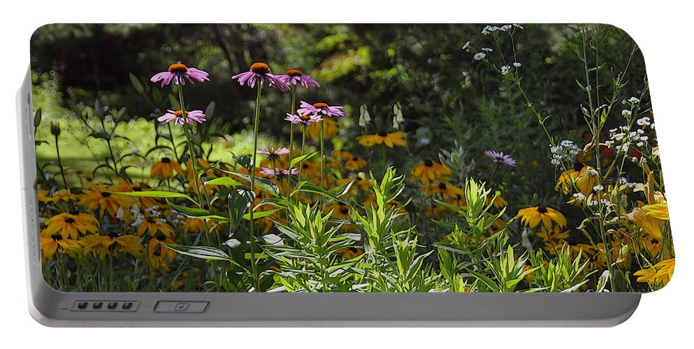 Flowers Portable Battery Charger featuring the photograph The Field Of Flowers by Yvonne Wright