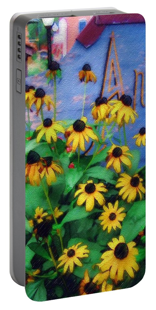 Flowers Portable Battery Charger featuring the photograph Black-eyed Susans At The Bag Factory by Sandy MacGowan