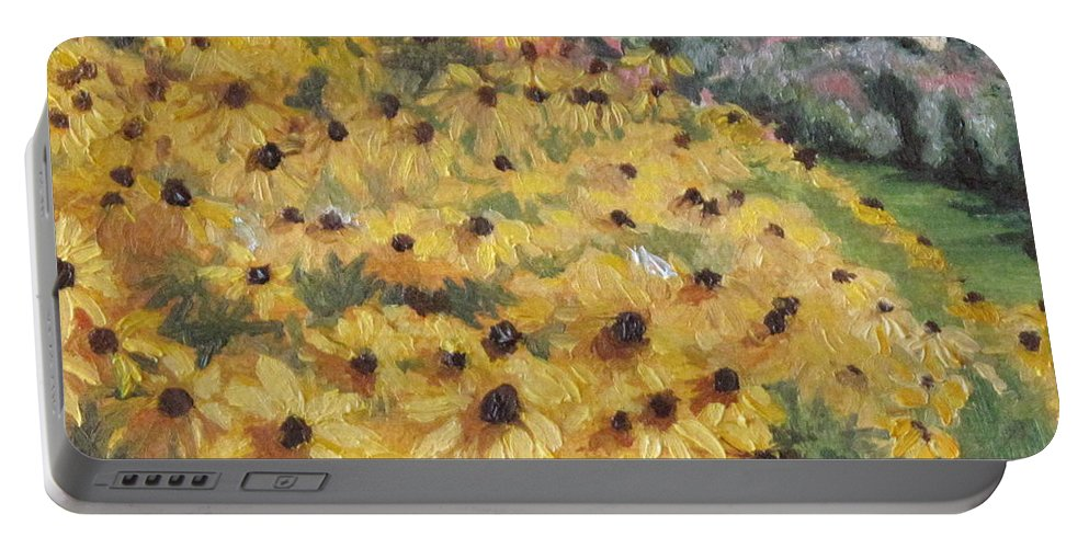 Floral Portable Battery Charger featuring the painting Black-eyed Susans by Lea Novak