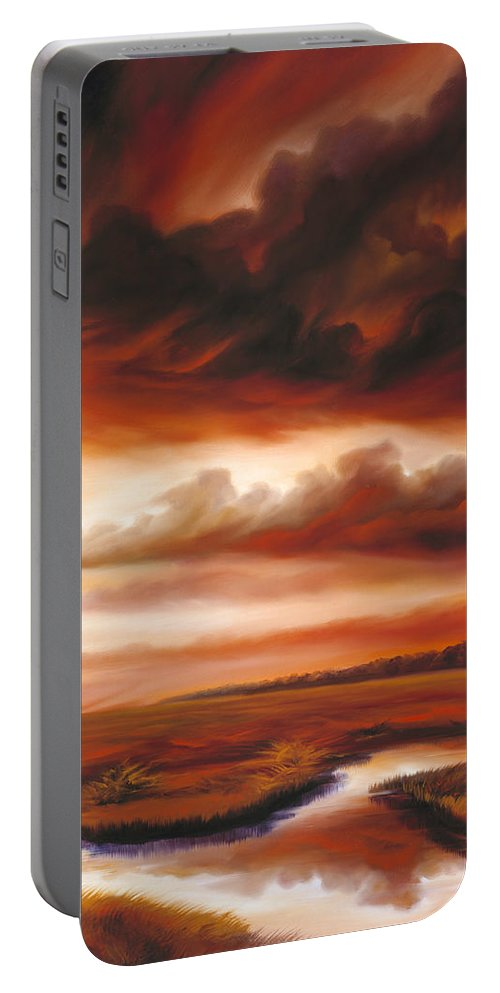 Contemporary Portable Battery Charger featuring the painting Black Fire by James Christopher Hill