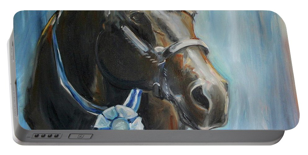 Black Horse Portable Battery Charger featuring the painting Black Horse Blue Ribbon by Maria Reichert