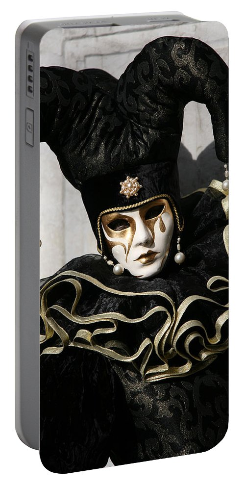 Black Portable Battery Charger featuring the photograph Black Jester by Donna Corless