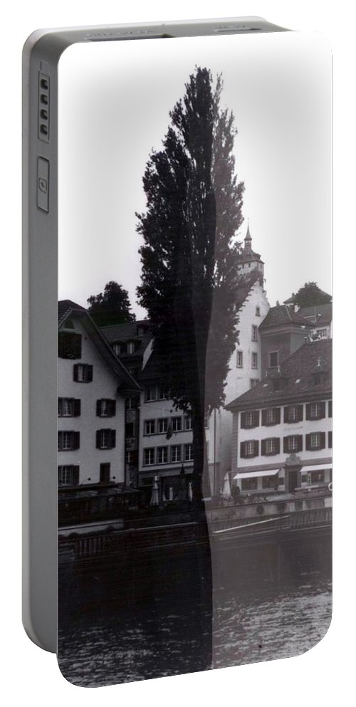 Black And White Portable Battery Charger featuring the photograph Black Lucerne by Christian Eberli