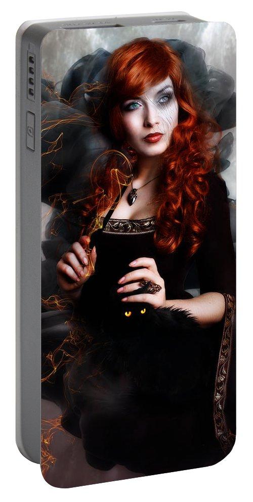 Woman Portable Battery Charger featuring the digital art Black Magic by Karen Koski
