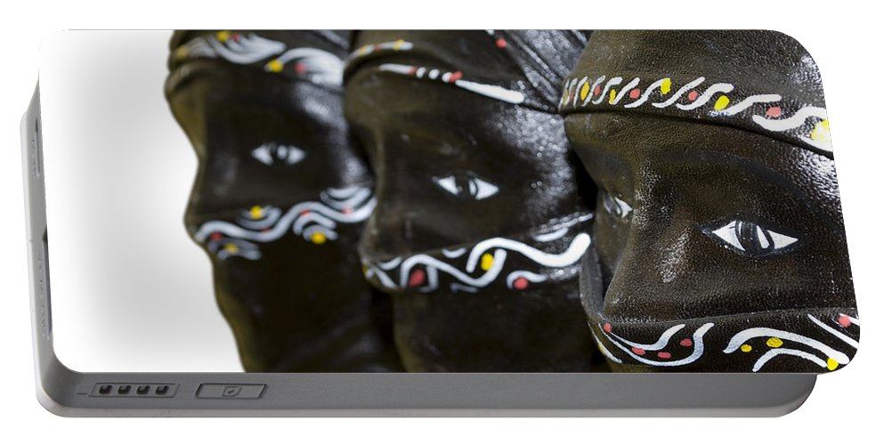 Black Portable Battery Charger featuring the photograph Black Masks by Svetlana Sewell