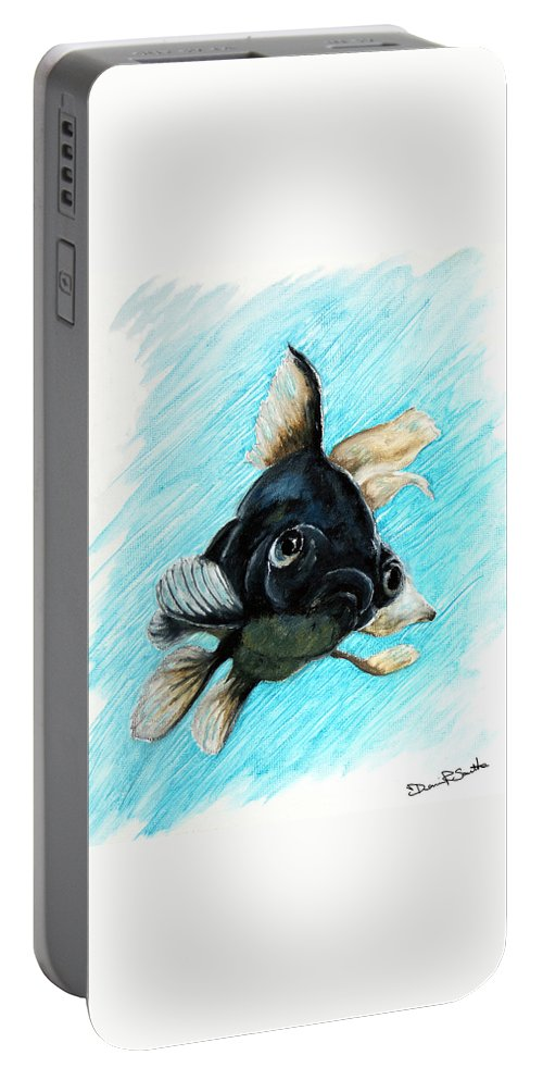 Goldfish Portable Battery Charger featuring the photograph Black Moor by Dennis Smith