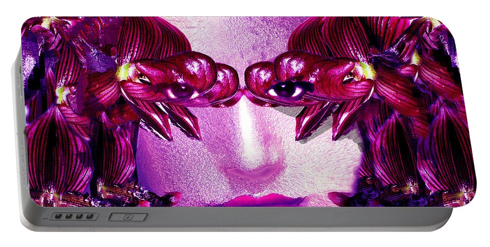 Oriental Portable Battery Charger featuring the digital art Black Orchid Eyes by Seth Weaver