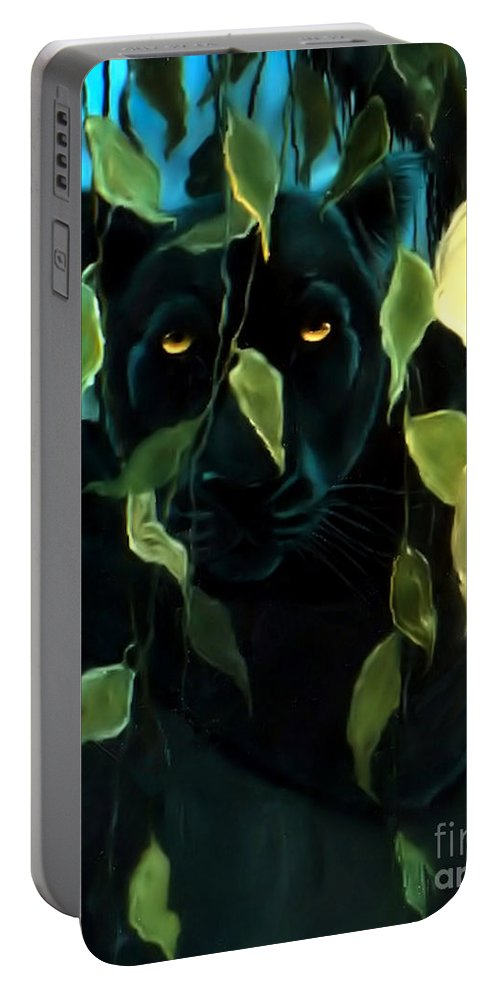 Black Panther Portable Battery Charger featuring the painting Black Panther by Nick Gustafson
