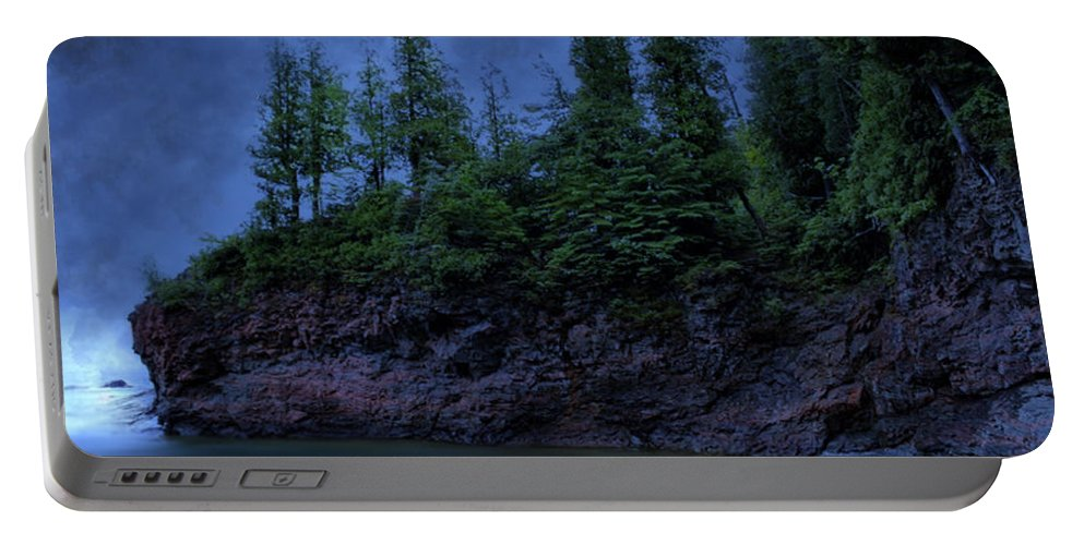 Michigan Portable Battery Charger featuring the photograph Black Rocks, Dark Sky by Kendall Tabor