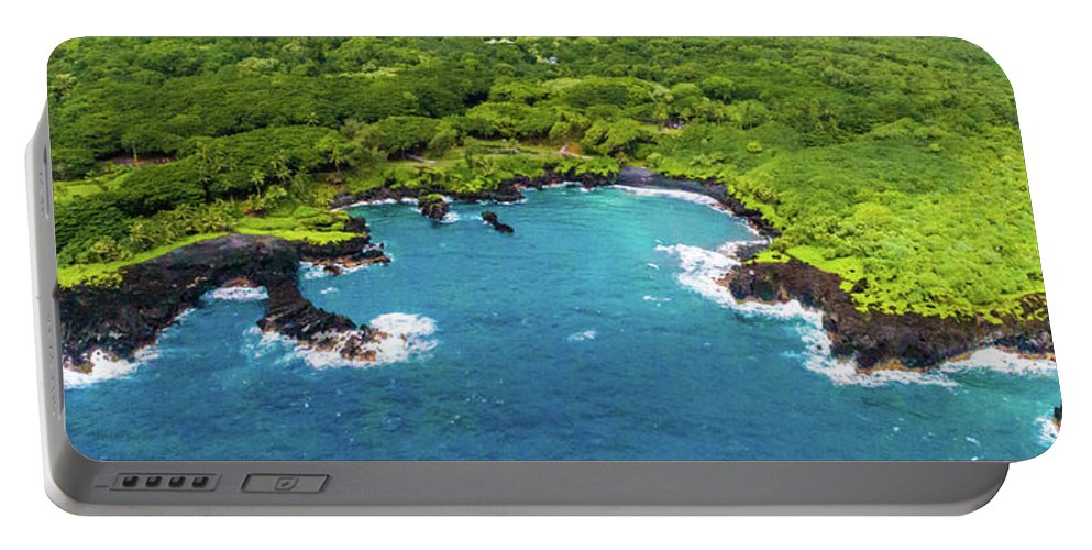 Maui Portable Battery Charger featuring the photograph Black Sand Beach by Frank Testa