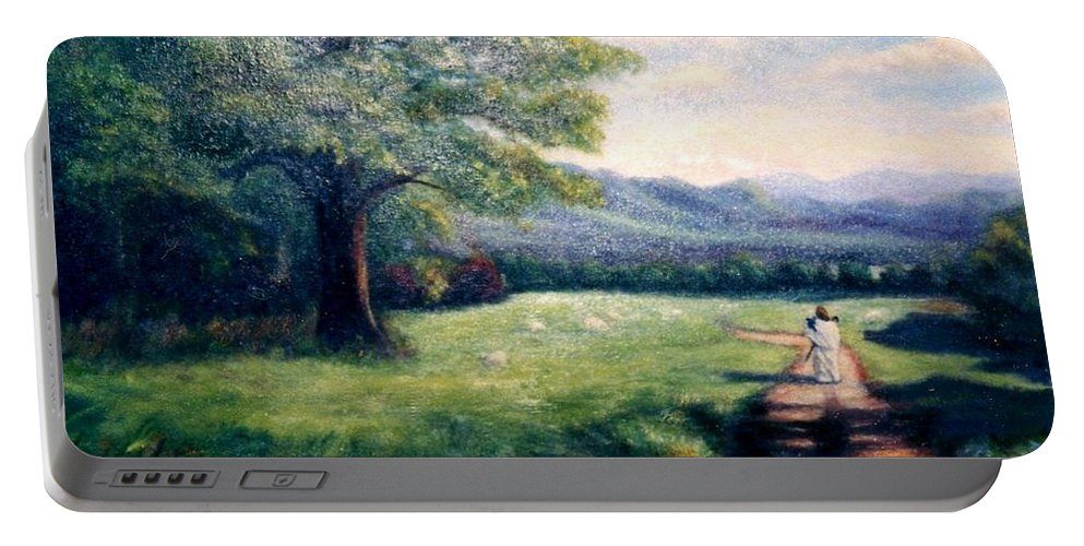 Christian Portable Battery Charger featuring the painting Black Sheep by Gail Kirtz