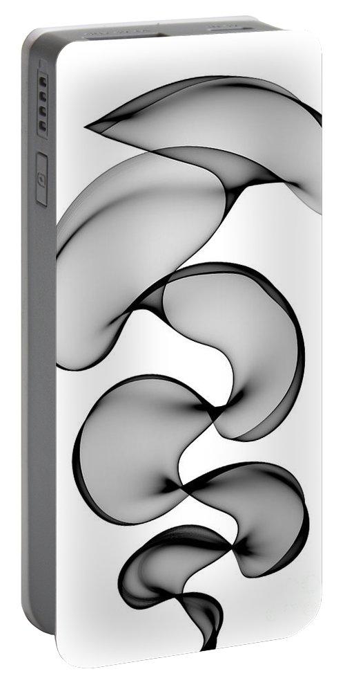 Abstract Portable Battery Charger featuring the digital art Black Silk by Ann Garrett