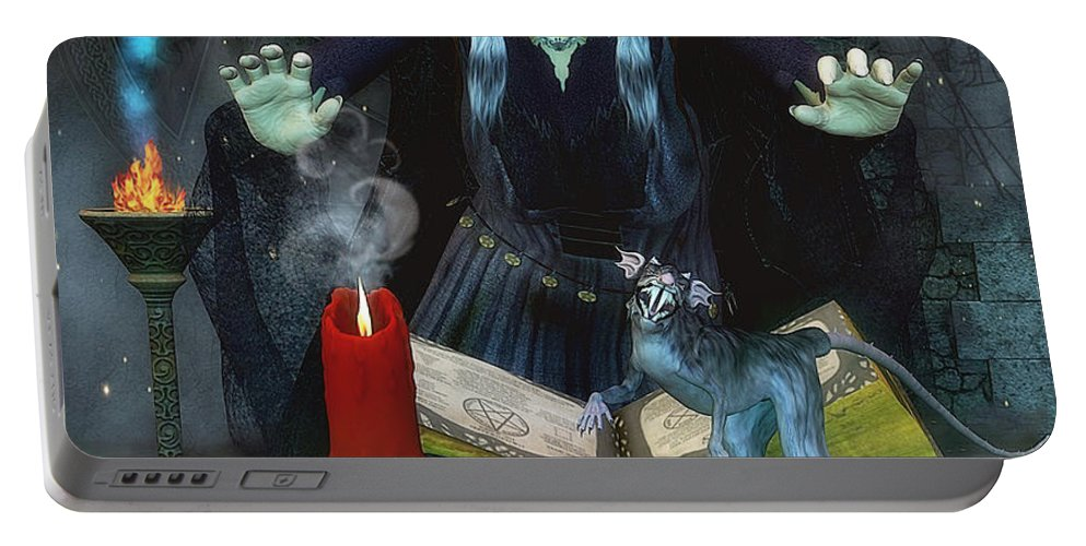 3d Portable Battery Charger featuring the digital art Black Spell by Jutta Maria Pusl