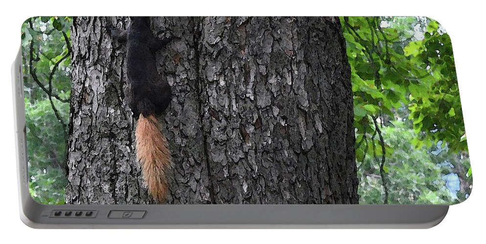 Abstract Portable Battery Charger featuring the digital art Black Squirrel With Blond Tail Two by Lyle Crump