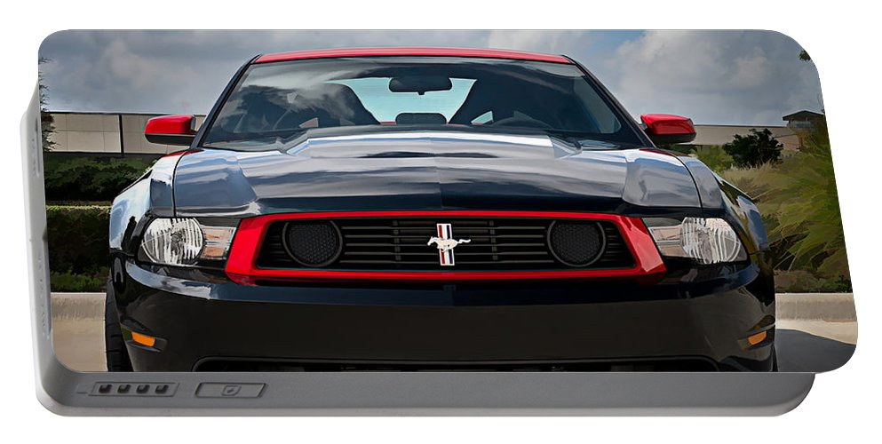 Mustang Portable Battery Charger featuring the digital art Black Stallion by Douglas Pittman