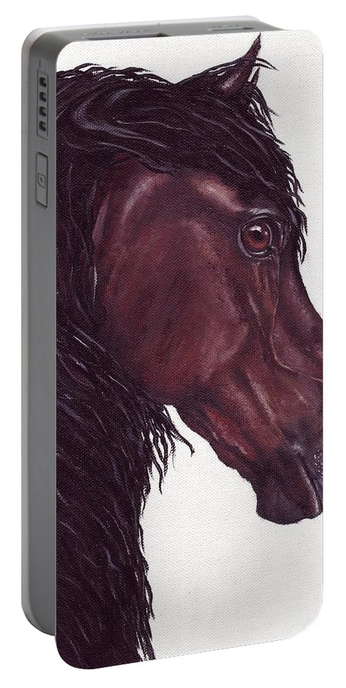 Horse Portable Battery Charger featuring the painting Black Sterling I by Kristen Wesch
