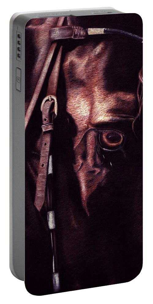 Horse Portable Battery Charger featuring the drawing Black Sterling II by Kristen Wesch