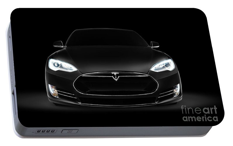 Black Tesla Model S Luxury Electric Car Front View Portable Battery Charger