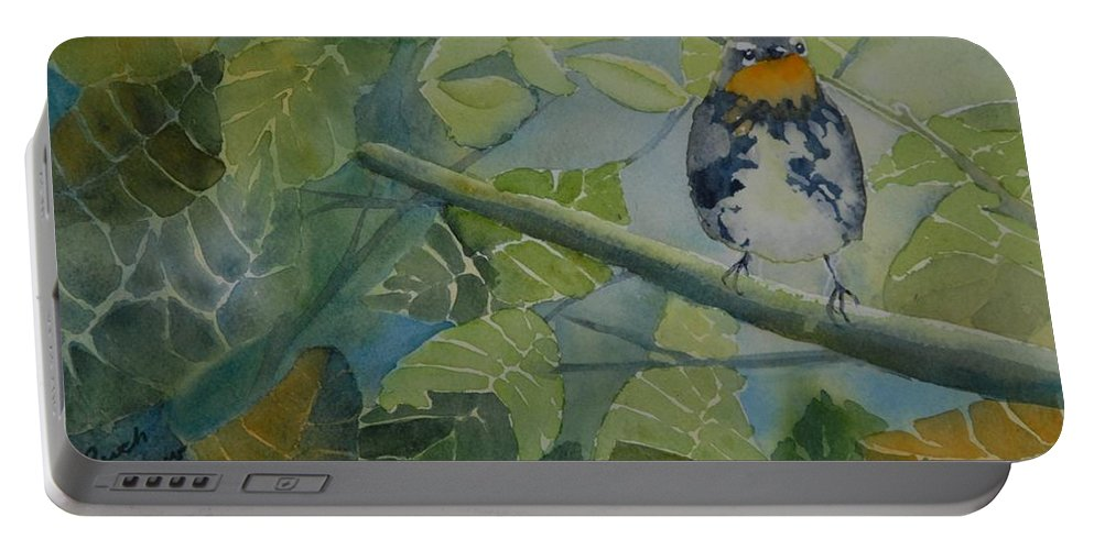 Bird Portable Battery Charger featuring the painting Blackburnian Warbler I by Ruth Kamenev