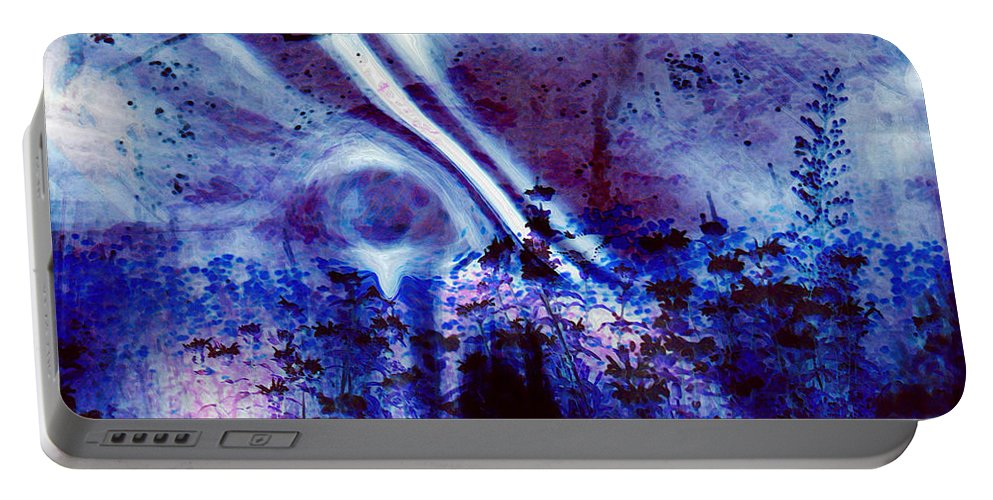 Abstracts Portable Battery Charger featuring the digital art Blackest Eyes by Linda Sannuti