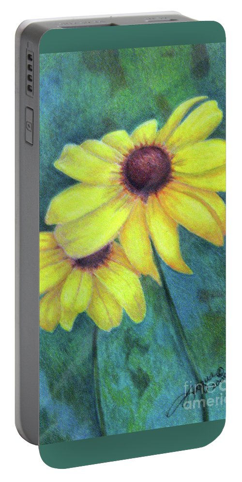 Fuqua - Artwork Portable Battery Charger featuring the drawing Blackeyed Susan by Beverly Fuqua