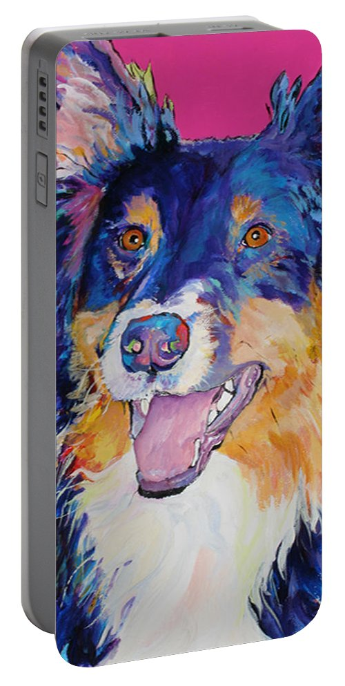 Dog Portable Battery Charger featuring the painting Blackjack by Pat Saunders-White