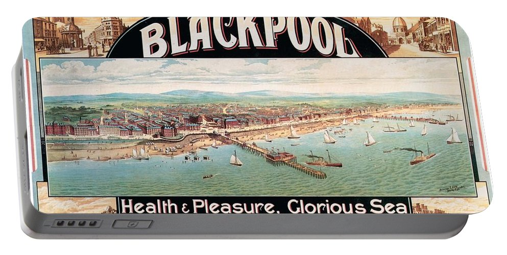 Blackpool Portable Battery Charger featuring the mixed media Blackpool, England - Retro Travel Advertising Poster - Seaside Resort - Vintage Poster by Studio Grafiikka