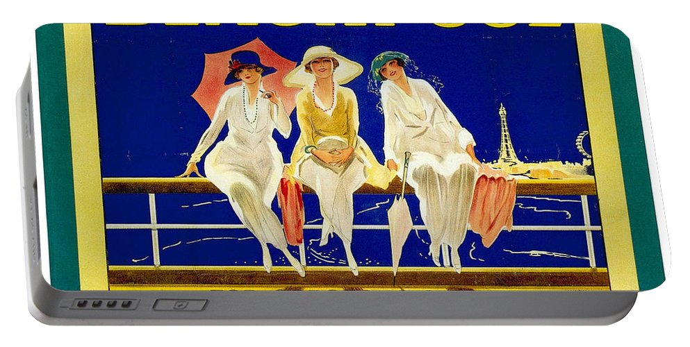 Blackpool Portable Battery Charger featuring the mixed media Blackpool, England - Retro Travel Advertising Poster - Three Fashionable Women - Vintage Poster - by Studio Grafiikka