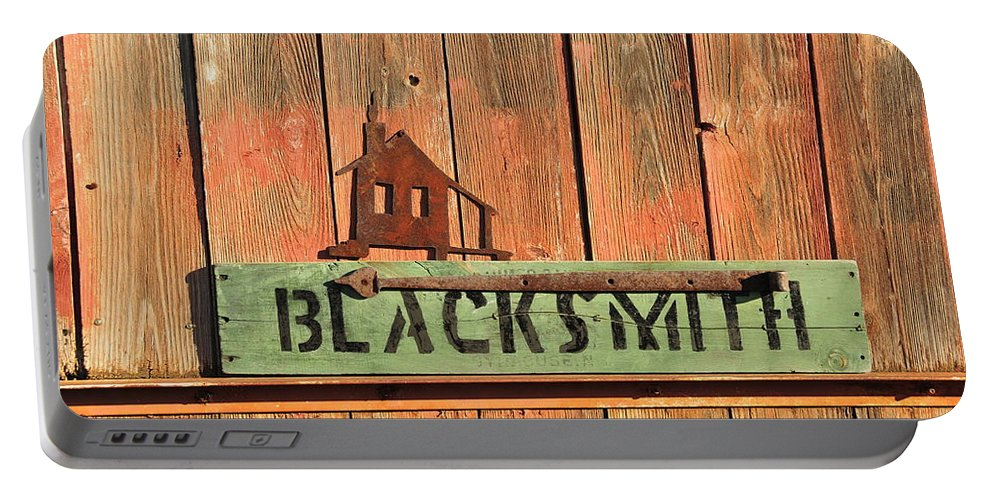 Sign Portable Battery Charger featuring the photograph Blacksmith Sign by David Arment