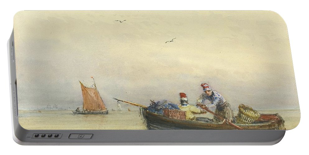 David Cox Portable Battery Charger featuring the painting Blackwall by MotionAge Designs