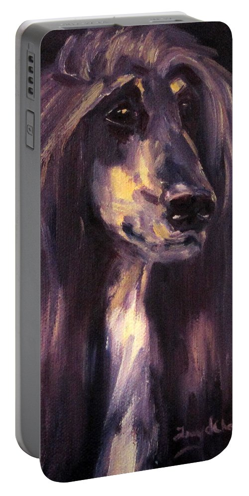 Afghan Hound Sighthound Dog Pet Portrait Oil Portable Battery Charger featuring the painting Blade by Terry Chacon