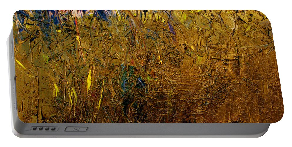 Abstract Portable Battery Charger featuring the painting Blades Of Grass by Ruth Palmer