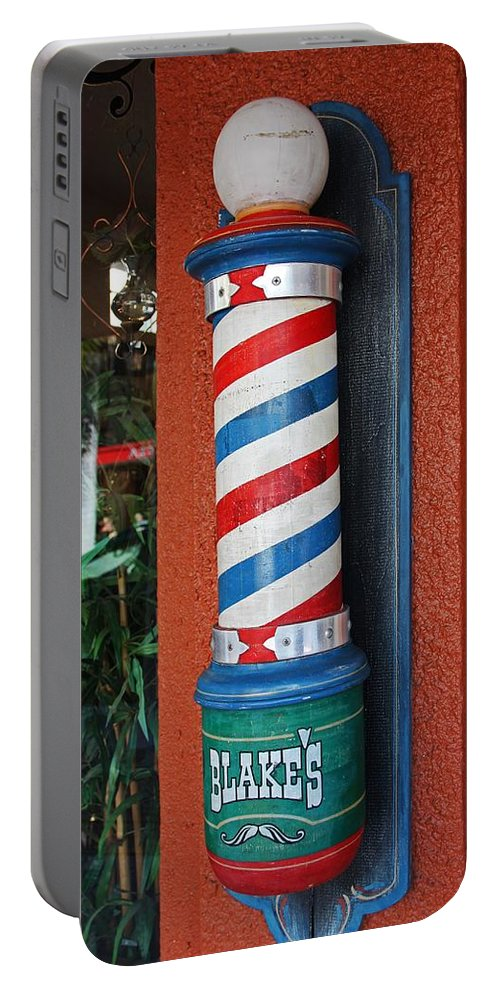 Barbershop Pole Portable Battery Charger featuring the photograph Blake's Barbershop Pole Vector I by Michiale Schneider