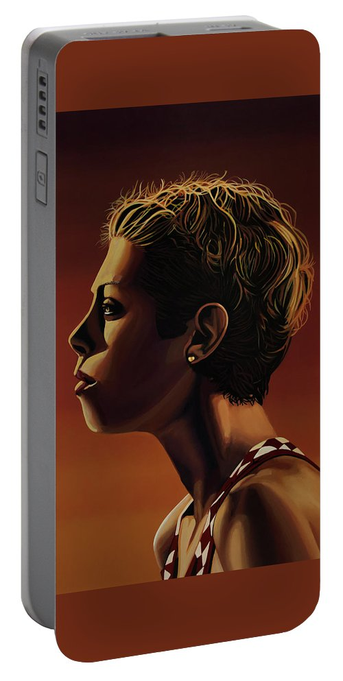 Blanka Vlasic Portable Battery Charger featuring the painting Blanka Vlasic Painting by Paul Meijering