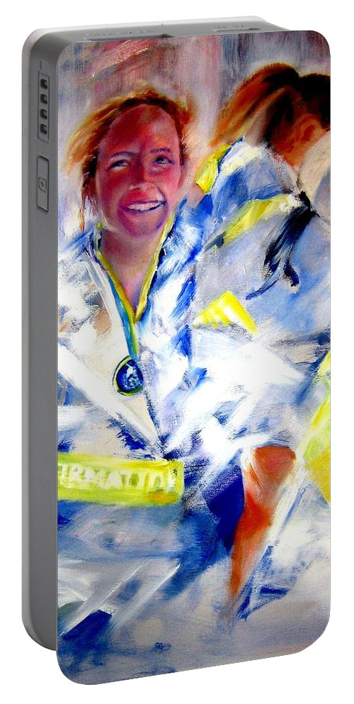Marathon Portable Battery Charger featuring the painting Blanketed In Pride by Sandy Ryan
