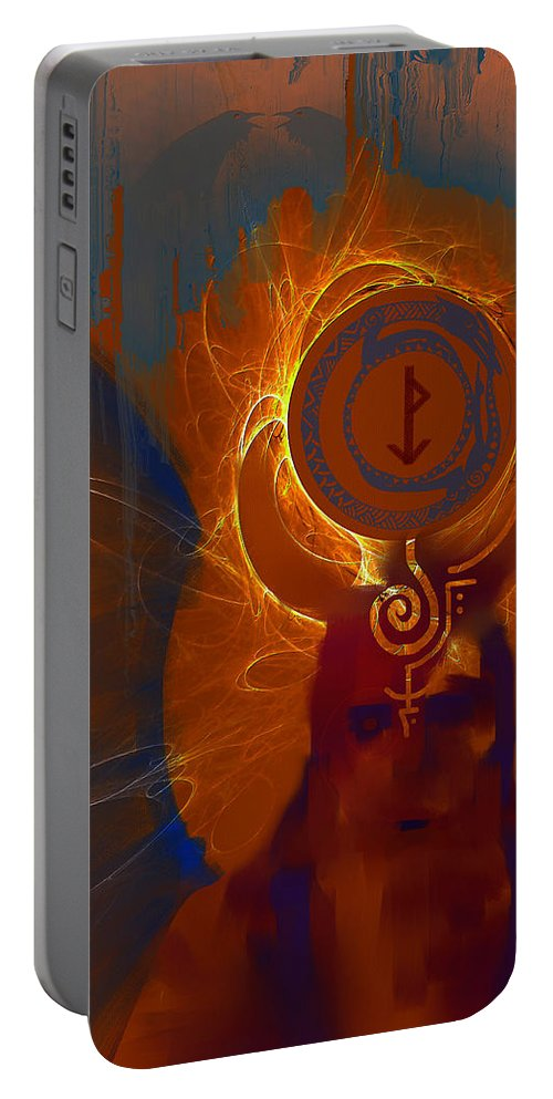 Spiritual Portable Battery Charger featuring the digital art Blazzing Wisdom Through Odins Essence by Stephen Lucas