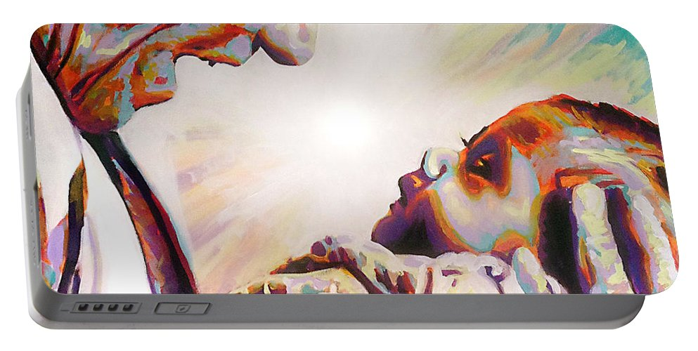 Blessed Teresa Of Calcutta Portable Battery Charger featuring the painting Blessed Mother Teresa by Steve Gamba
