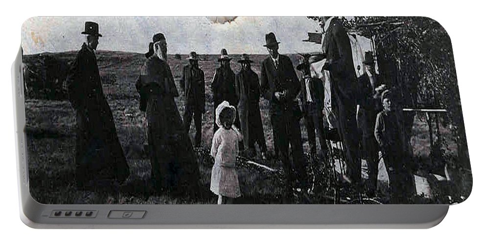 Old Fashioned Black And White Church Children Settlers Pioneers Ceremony Portable Battery Charger featuring the photograph Blessings And Dreams by Andrea Lawrence