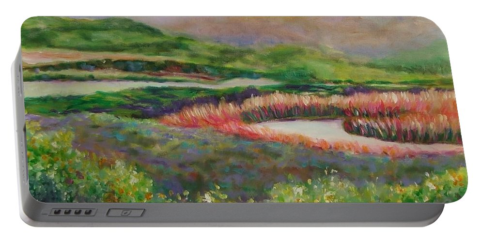 Landscape Portable Battery Charger featuring the painting Blip Stream by Shannon Grissom