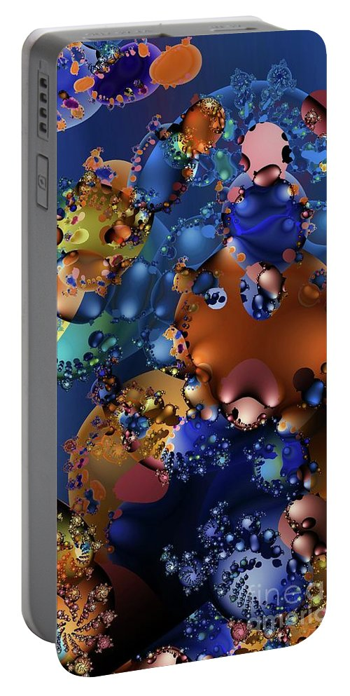 Abstract Portable Battery Charger featuring the digital art Blobbles by Ron Bissett
