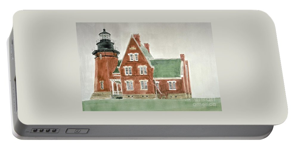 Lighthouse Portable Battery Charger featuring the painting Block Island Southeast Lighthouse by Robert Bowden