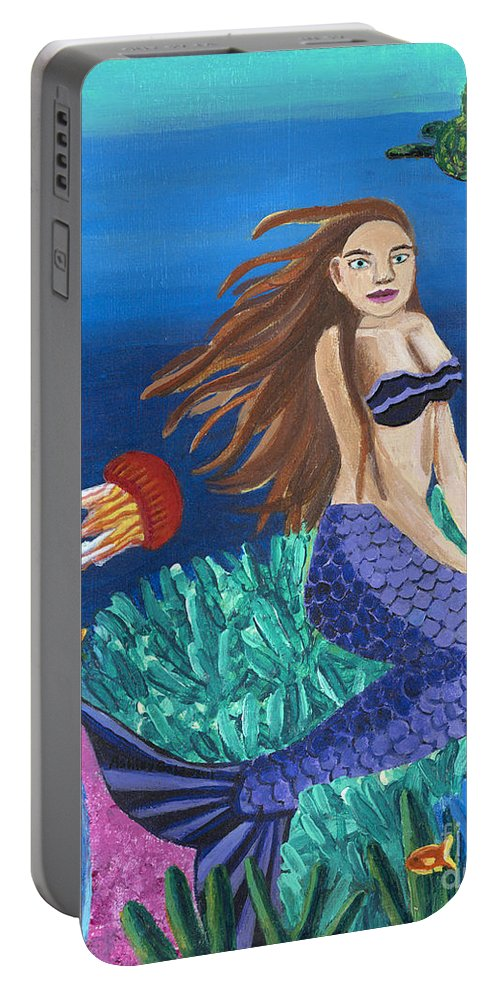 Blond Portable Battery Charger featuring the painting Blonde Mermaid With Purple Tail by Ashley Baldwin