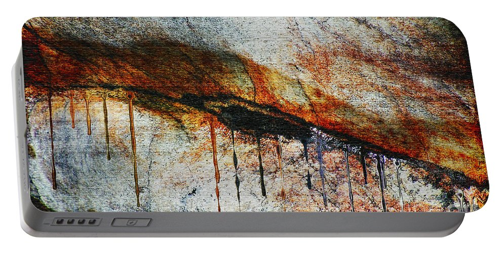 Rock Portable Battery Charger featuring the painting Blood From A Stone by RC DeWinter