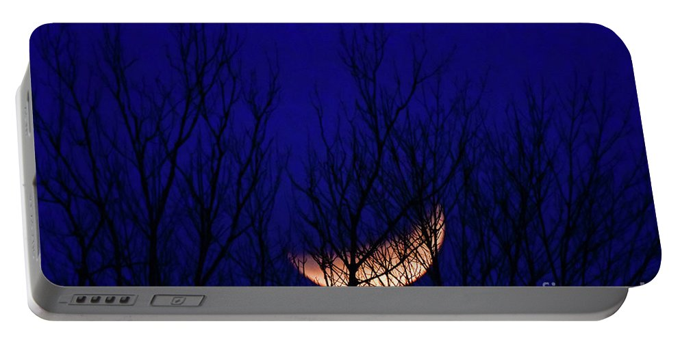 2018 Portable Battery Charger featuring the photograph Blood Moon And Winter Trees by Dwain Patton