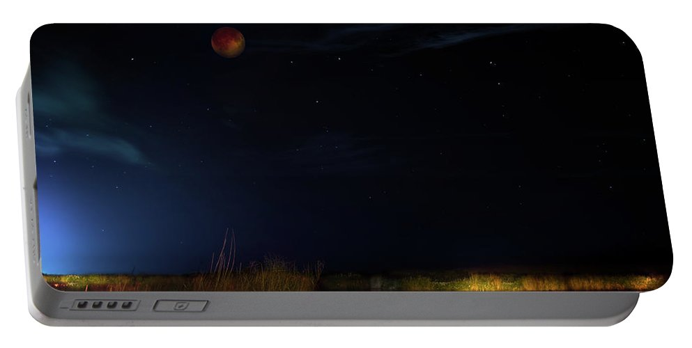 Eclipse Portable Battery Charger featuring the photograph Blood Moon Country by Mark Andrew Thomas