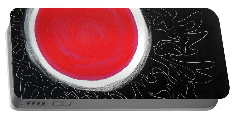 Big Stylized Red Moon With Pink Accents Inside .all Black Background Sky Portable Battery Charger featuring the painting Blood Moon by Expressionistart studio Priscilla Batzell