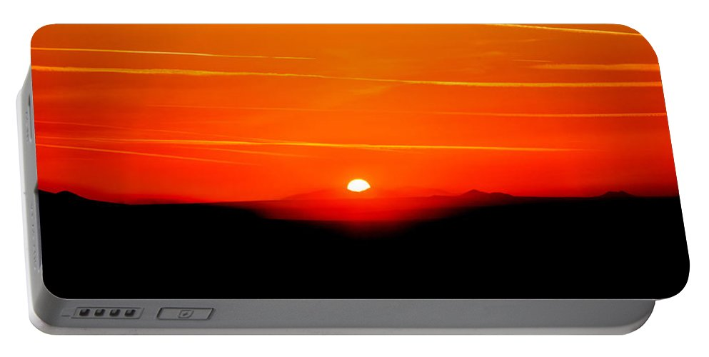 Los Angeles Portable Battery Charger featuring the photograph Blood Red Sunset by Az Jackson