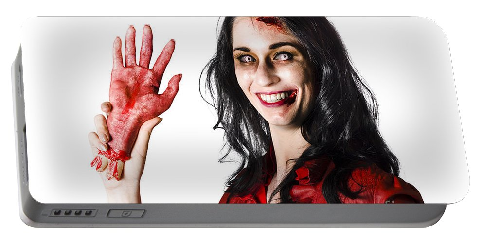 Awful Portable Battery Charger featuring the photograph Bloody Zombie Woman With Severed Hand by Jorgo Photography - Wall Art Gallery