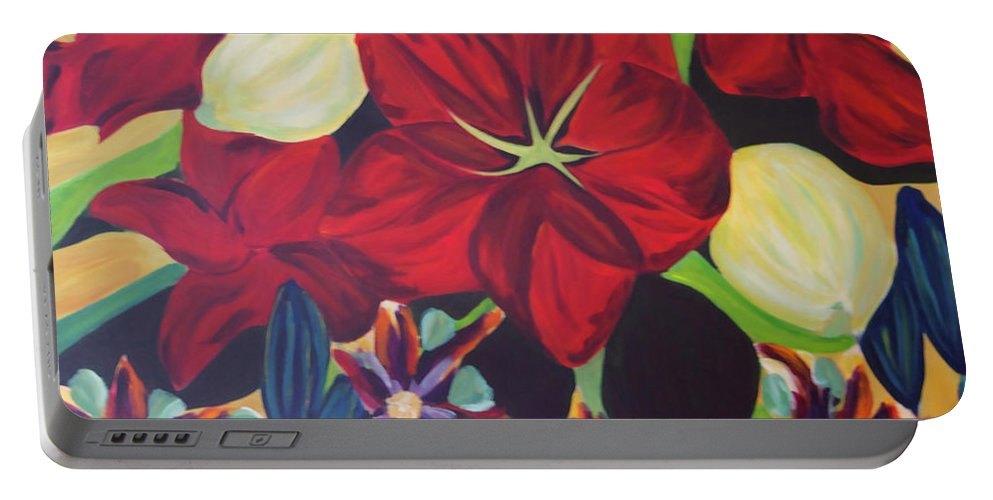 #flower Portable Battery Charger featuring the painting Bloom by Jacquelinemari